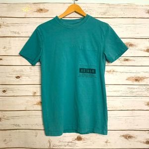 American Eagle T-Shirt Tee Teal XS Crew Neck